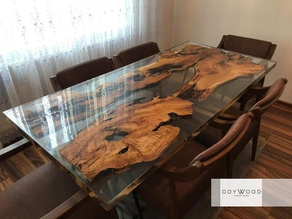 Epoxy Resin Olive Wood Dining Table Etsy Wood Dining Table