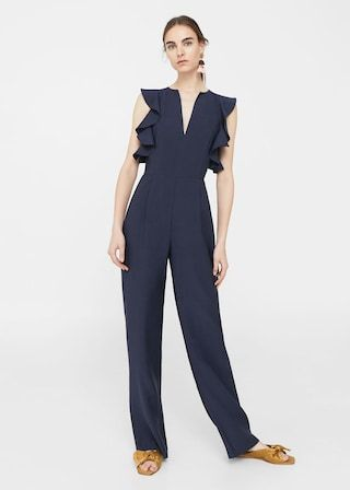 Frilled long jumpsuit -  Women | MANGO USA