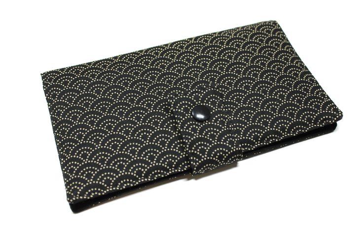 portefeuille chéquier cartes en tissu japonais unisexe noir et