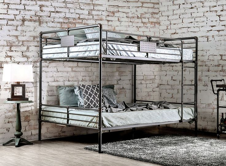 Industrial Piping Queen over Queen Metal Bunk Bed