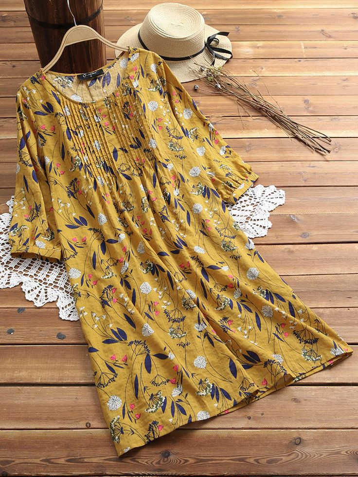 Only US$34.99 shop vintage women floral print pleated 3/4 sleeve dress at Banggo…