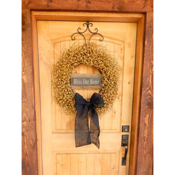 Fall Wreath-Thanksgiving Wreath-Bless Our Home-Large Yellow & Burlap... ($115) ❤ liked on Polyvore featuring home, home decor, home fragrance, black, home & living, home décor, ornaments & accents, rustic wreath, berry wreath and grapevine wreaths