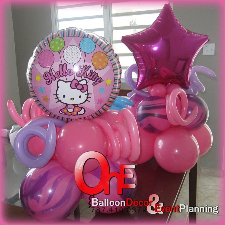 Hello kitty birthday balloon decoration graces first for Balloon decoration ideas for 1st birthday