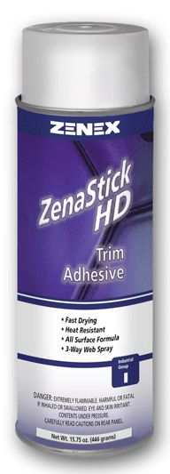 ZenaStick HD ADHESIVE is a fast drying, high strength adhesive that provides a strong bond to most substrates and is heat, moisture, and water-resistant. Package is equipped with a unique 3-way adjustable spray nozzle. This enables technicians to vary the width of the spray pattern with minimal overspray. Will bond carpets, urethane foam insulation, vinyl tops, kick pads, upholstery, headliners, etc. FEATURES AND BENEFITS ZenaStick is fast drying. ZenaStick will not attack foam. Heat…