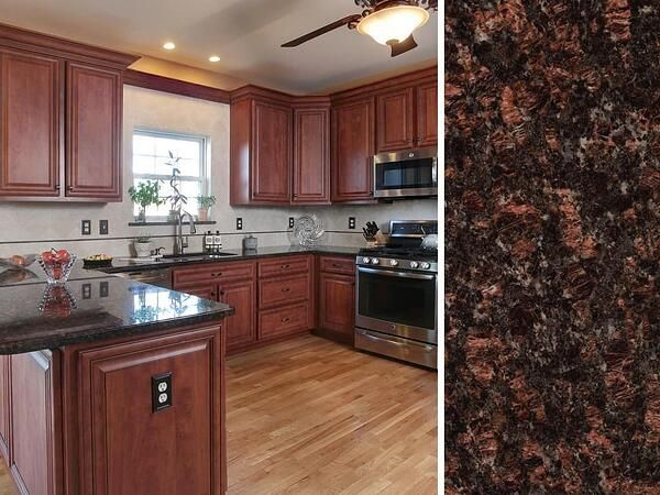 What Countertop Color Looks Best With Cherry Cabinets Cabinets Cherry Cherry Wood Kitchen Cabinets Cherry Cabinets Kitchen Replacing Kitchen Countertops