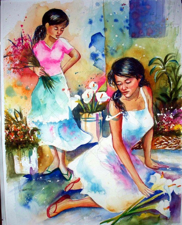 Pintura: mujeres vendedoras de frutas