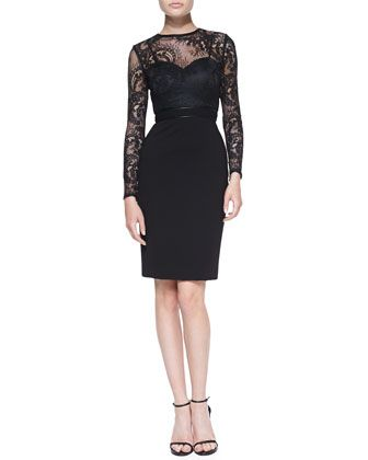 Vinita Long-Sleeve Lace Cocktail Dress by Catherine Deane at Bergdorf Goodman.