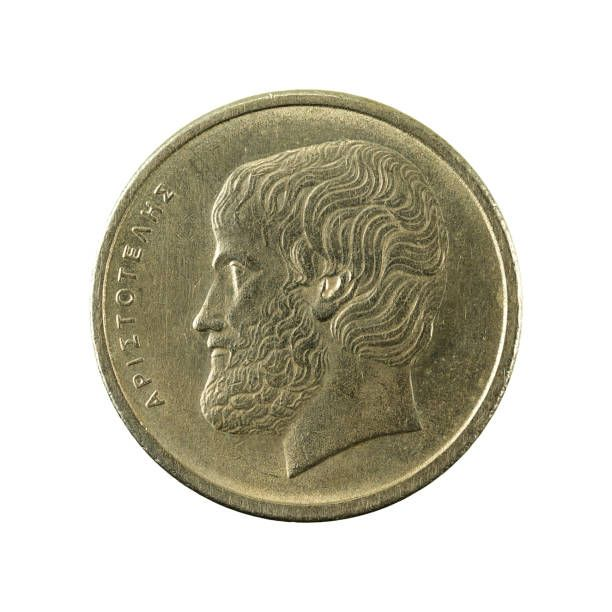 greek drachma coin reverse isolated on white background