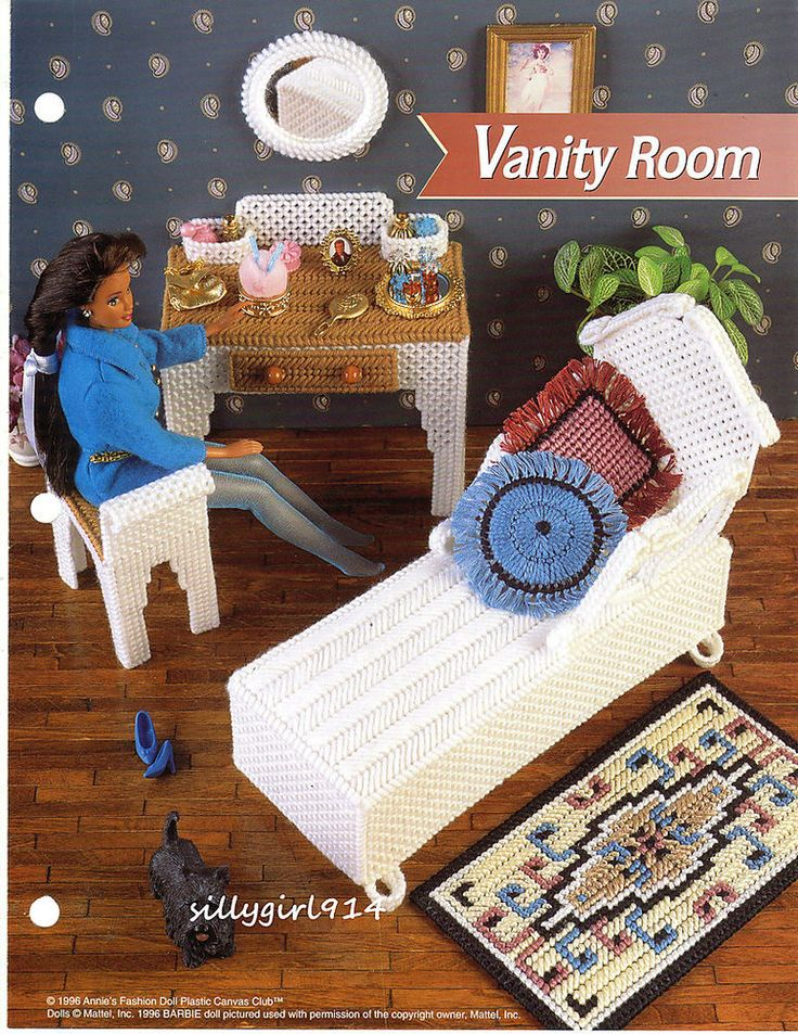 Details About Vanity Room Annie 39 S Plastic Canvas Pattern Only Fits Barbie Fashion Doll Rare