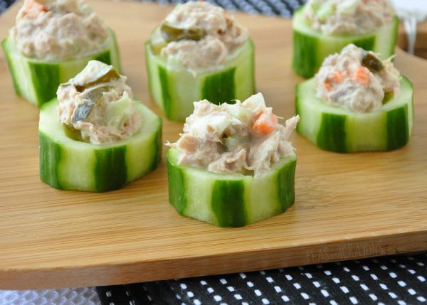 Stabilizes sugar level - Great appetizers - Cucumber stuffed with tuna salad (low fat mayo)