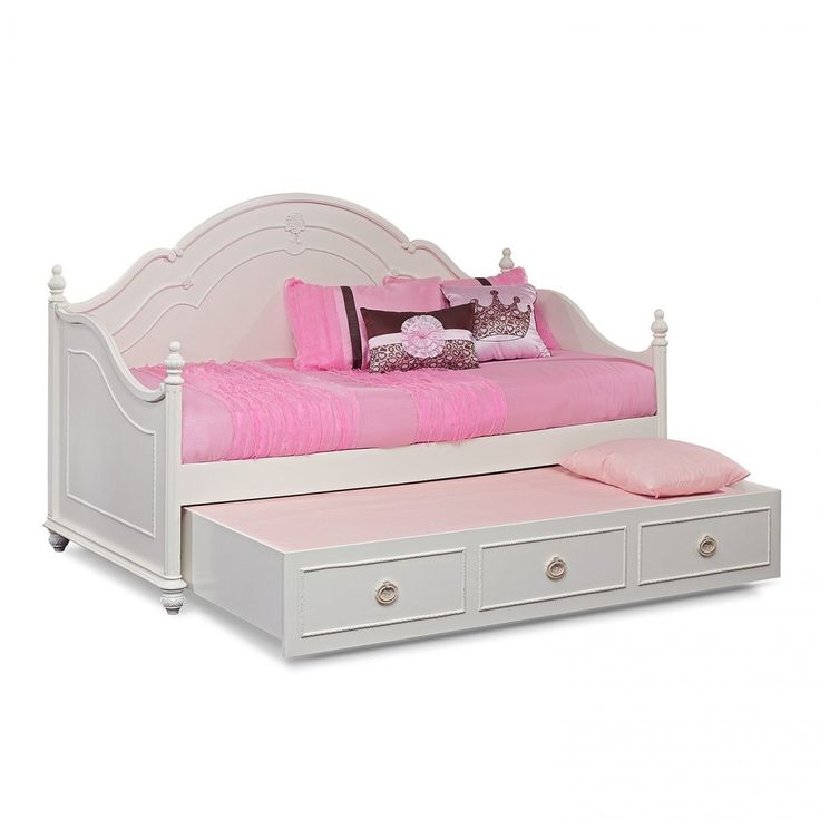 Bedroom Furniture White Polished Kid Trundle Daybed With Pink Bed Linen And Curved Headboard Elegant Daybed