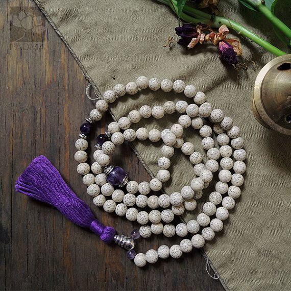 108 white lotus Bodhi Seeds Amethyst guru by PadmaZenArt on Etsy,