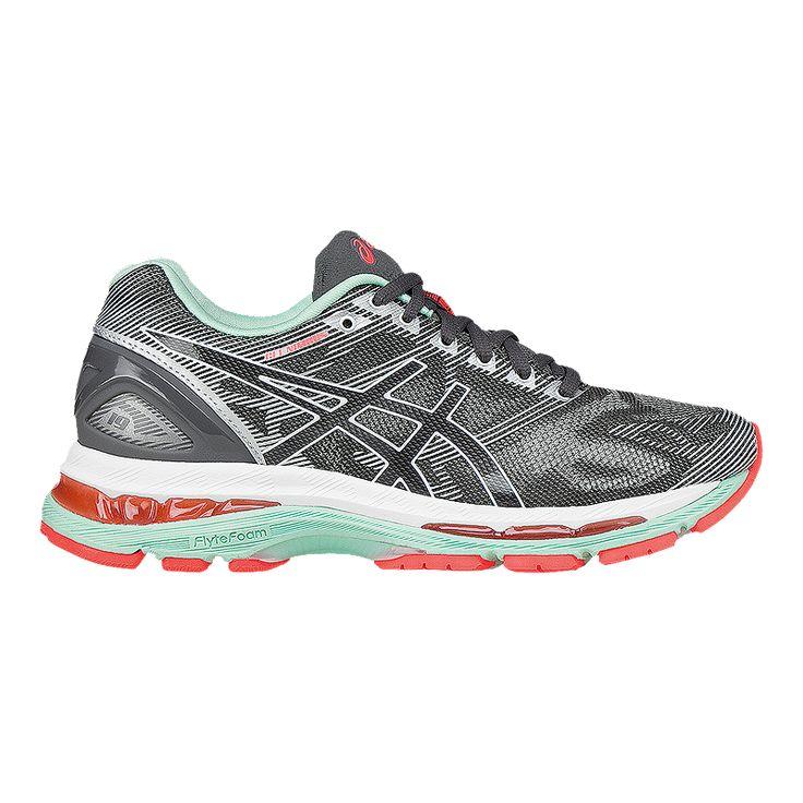 ASICS Women's Gel Nimbus 19 D Wide Width Running Shoes - Silver Grey/Mint  Green/Orange