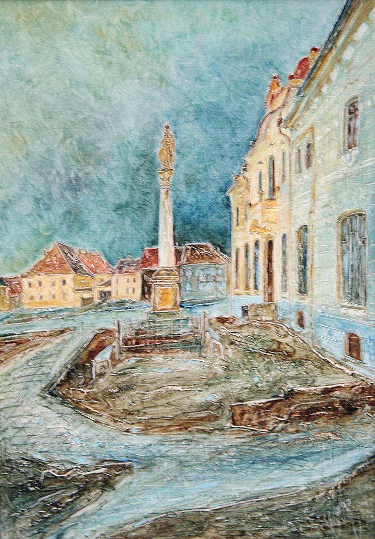 Pavel Móza - Nitrianske Pravno - námestie, olej, 2002, 41x29 cm, cena - 600€