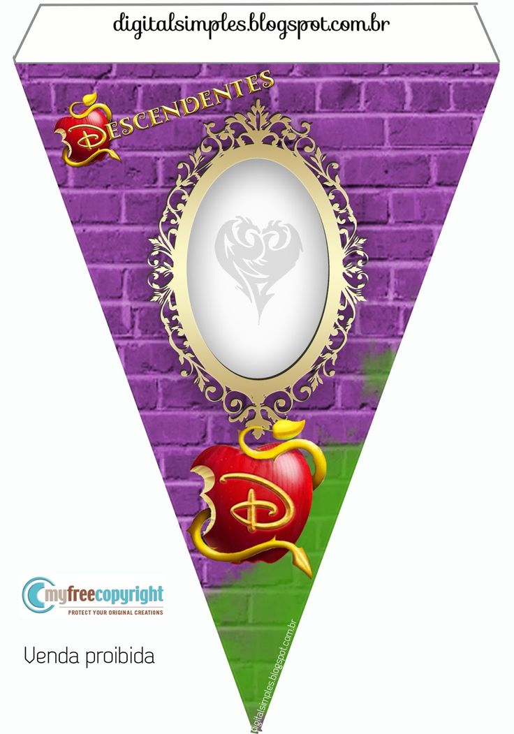 Festa Descendentes Disney, gratuito para Imprimir, kit com caixinhas, convites, rótulos  para aniversário.