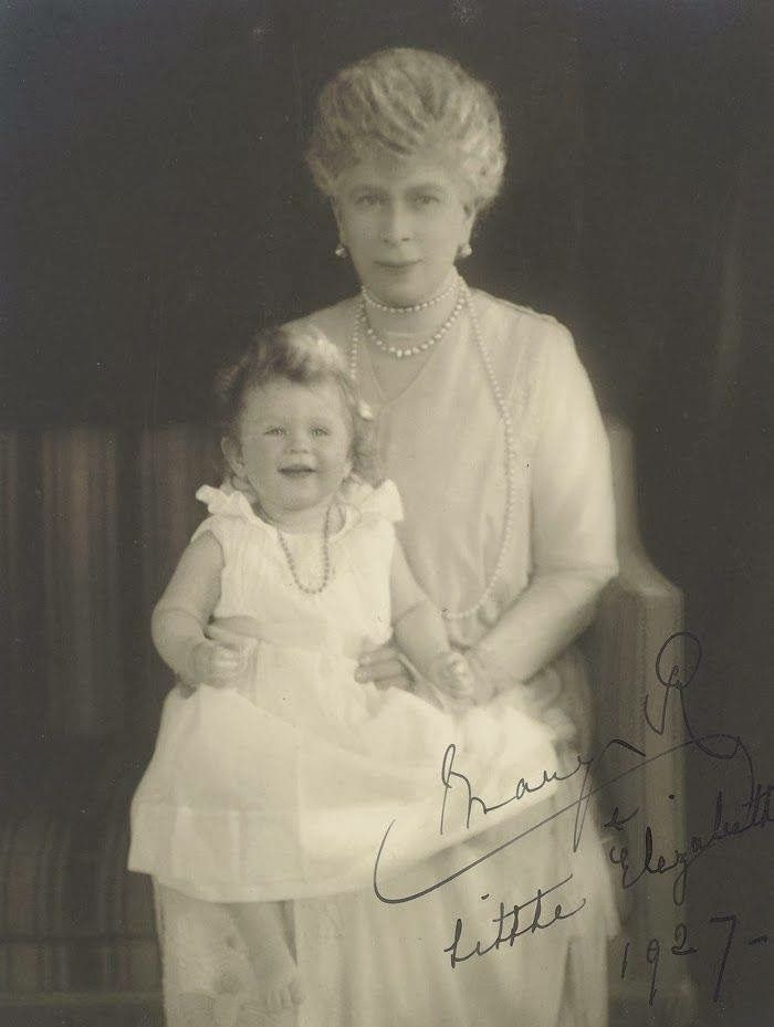 Queen Mary with granddaughter Elizabeth