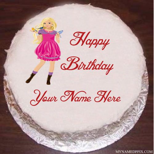 Barbie Doll Birthday Cake With Name Image Beautiful Cute Doll