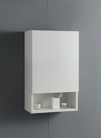 Wall unit made of V100 18 mm white water-repellent laminate faced particleboard, one-panel opening, with slow-motion closing mechanism, equi...