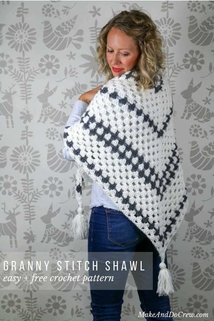 """Put a modern spin on a crochet classic with this simple crochet granny stitch wrap! This free crochet pattern uses Lion Brand New Basic 175 in """"Cream"""" and """"Charcoal."""" Wears great as a crochet triangle scarf as well!"""