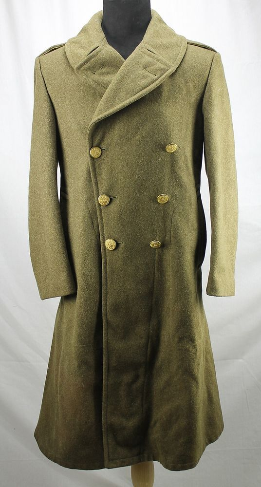 Wwii Us Army Drab Green Wool Melton Long Overcoat Trench