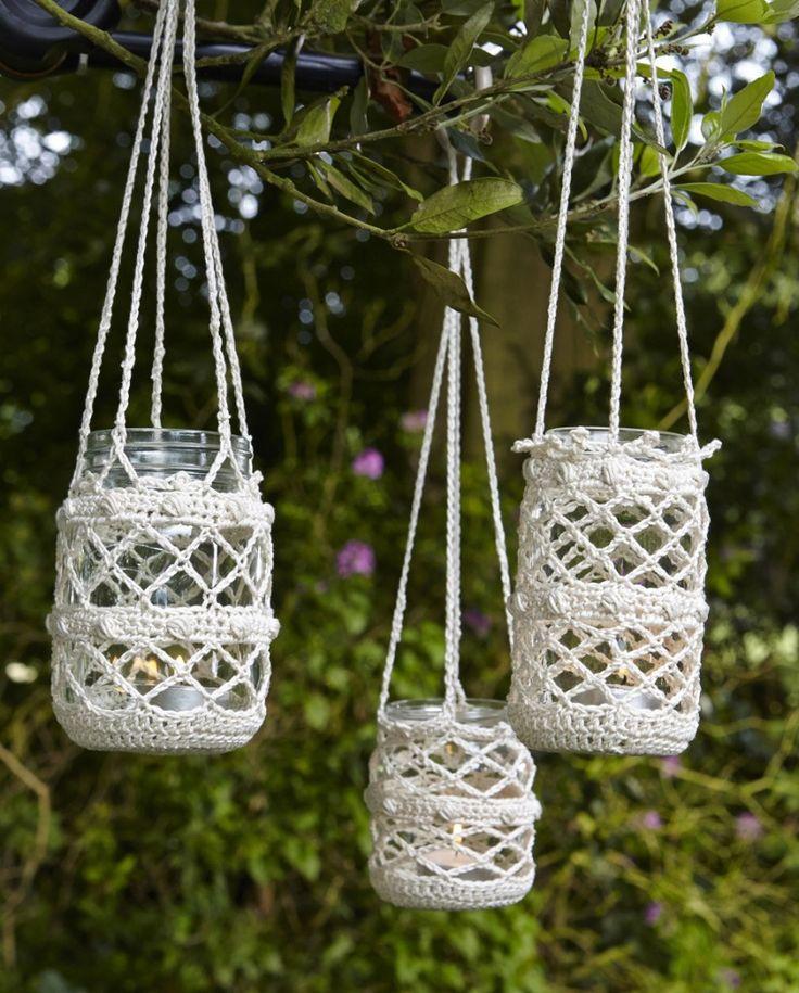 Beautiful crocheted jar covers