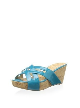 78% OFF Delman Women's Carla Wedge Sandal (Turquoise Patent)