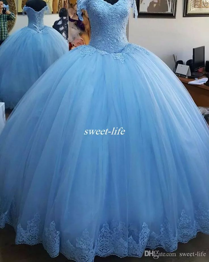 Real Images 2017 Sky Blue Quinceanera Dresses Off Shoulder Corset Back Sequins Lace Sweep Train Custom Made Sweet 15 Party Debutantes Gowns Quinceanera Dresses Cheap Prom Dresses Online with $142.0/Piece on Sweet-life's Store | DHgate.com