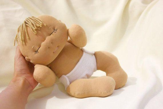 Custom made doll- Soft sculpture custom baby doll- dress up 13 inch sleepy doll made to order