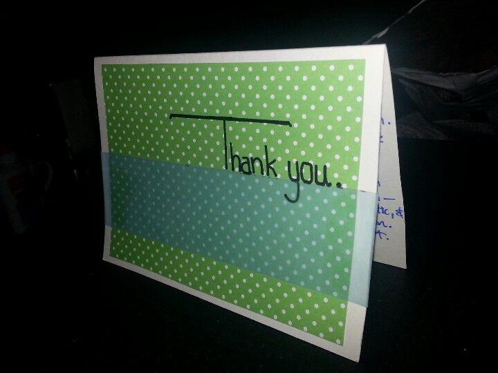 Simple green polka dot thank yoi card
