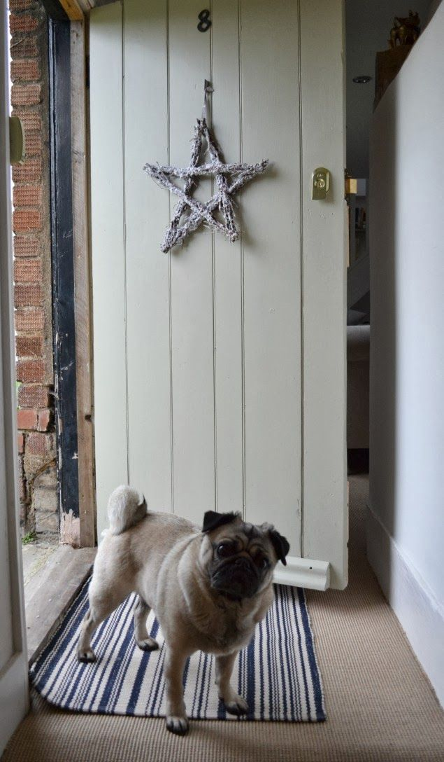 Farrow and Ball French Gray front door. Perfection (including the Pug!).