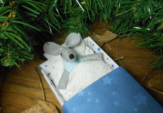 Nursery decor kids gift small felt mouse in matchbox miniature plush stocking stuffers light blue Christmas teen gift white by atelierpompadour #italiasmartteam #etsy  #christmasgift