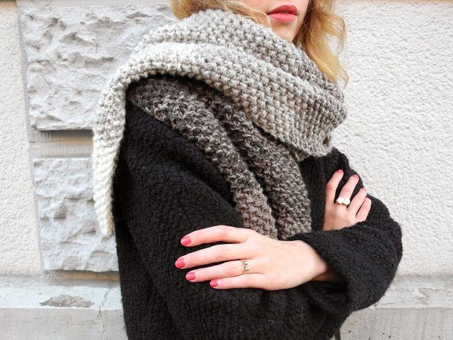 """Als ich noch dachte dieser Winter könnte unheimlich kalt und schneereich werden, habe ich mit dem Strick-Projekt XXL-Schal begonnen...""""lei..."""