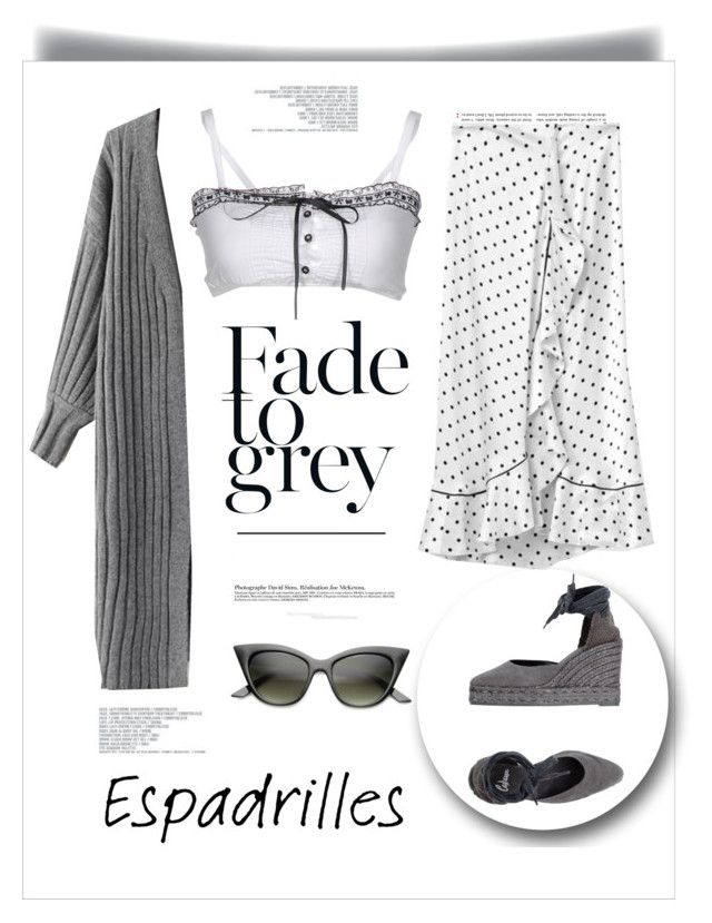 """""""Step into Summer: Espadrilles"""" by black-eclipse-red-sky ❤ liked on Polyvore featuring Castañer, ZeroUV, Pinko, grey, espadrilles and satinskirt"""
