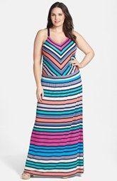 Caslon® Twill Strap Maxi Dress (Plus Size)
