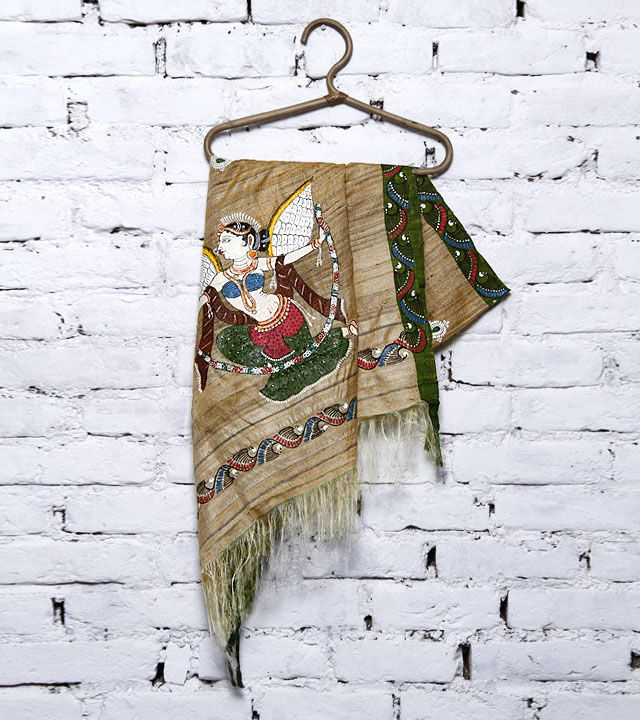 Beige & Green Tussar Silk Dupatta with Patachitra Art