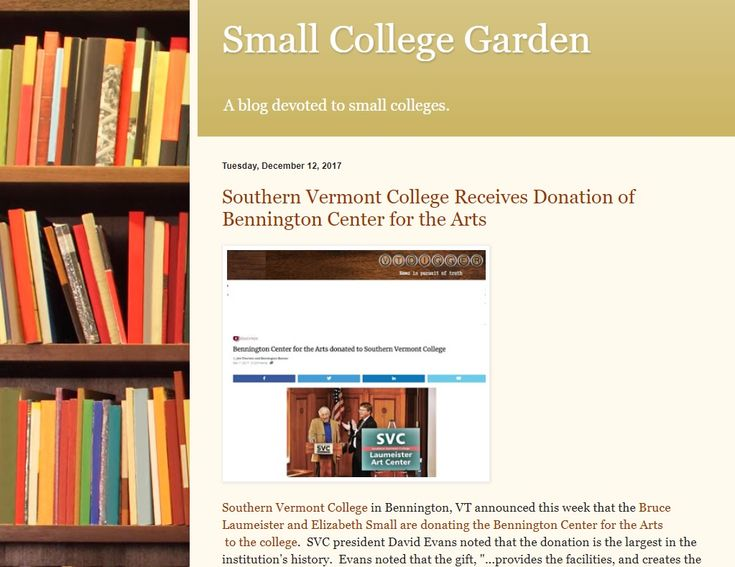 Southern Vermont College in Bennington, VT announced that the Bruce Laumeister and Elizabeth Small are donating the Bennington Center for the Arts  to the college.