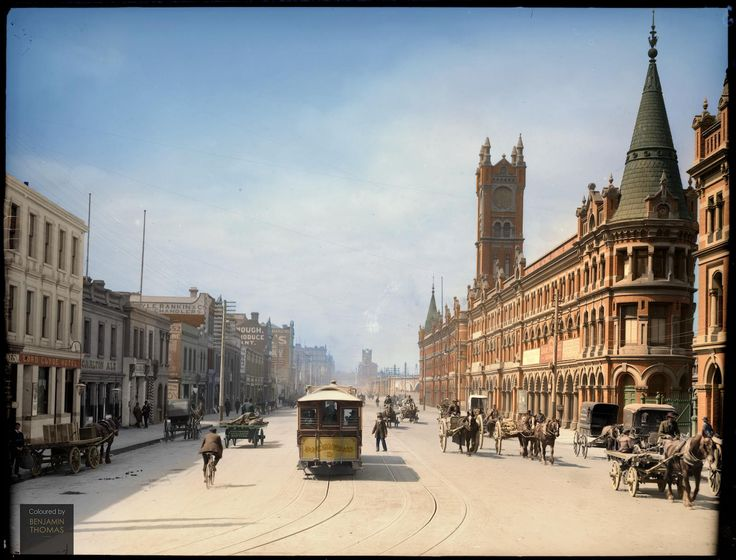 Melbourne 1909 as seen from the Fish Market - Flinders St.
