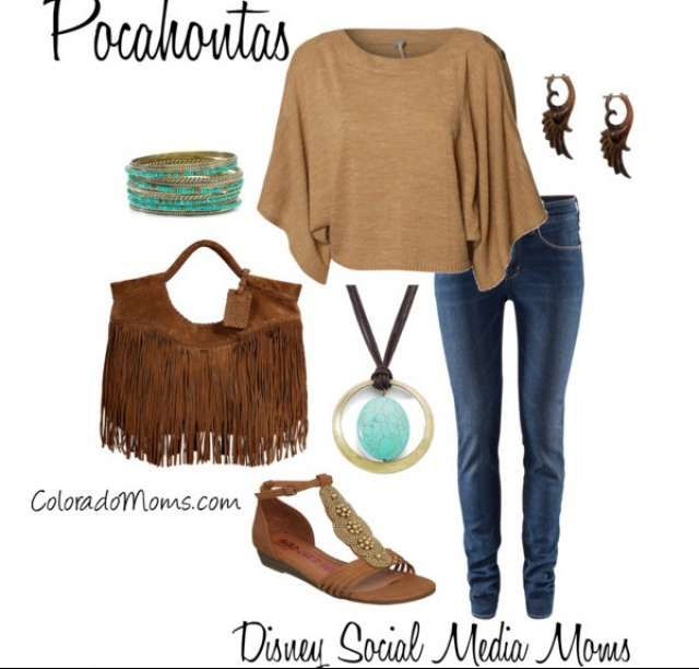 Dress like a Disney Princess - Pocahontas - change to moccasins or suede boots (with fringe!)