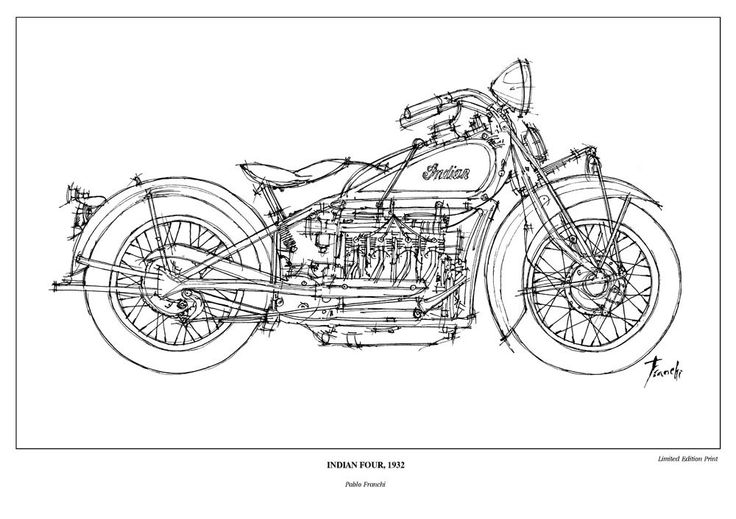Indian Four, 1932 - LIMITED EDITION PRINT of the classic model of Indian motorbikes, a perfect gift under 40 dolars. $38.00, via Etsy.