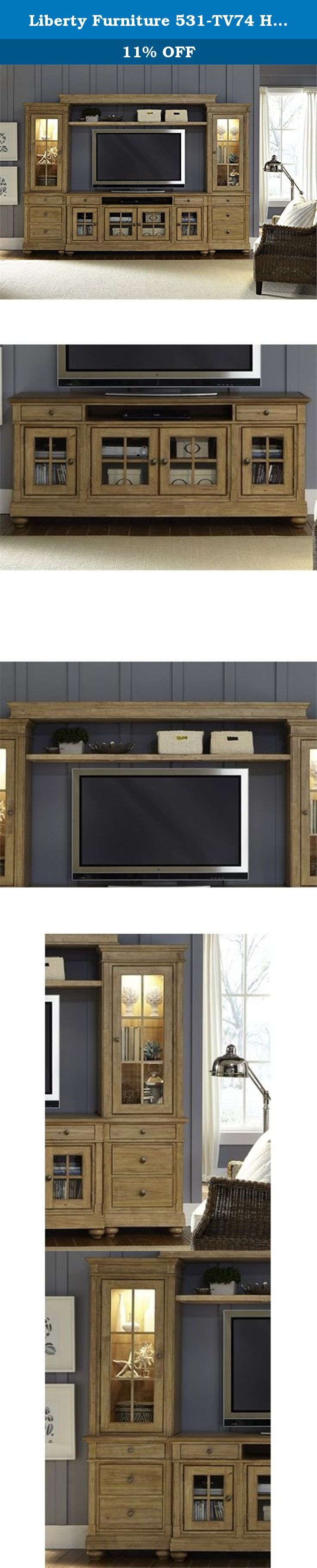 """Liberty Furniture 531-TV74 Harbor View Entertainment TV Stand, 74"""" x 19"""" x 32"""", Sand. Casual cottage styling that can work from coast to coast. Mindy veneers combine with three different finishes that work together to create an eclectic feel for today's homes. Versatile pieces with charming details such as turned posts and bun feet. Liberty Furniture is a dedicated provider of all wood products including bedroom, dining, entertainment, occasional and home office categories. Our products…"""