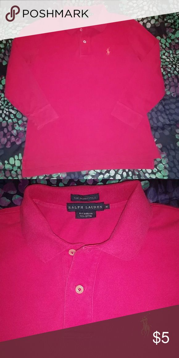 LADIES RALPH LAUREN PINK POLO SHIRT RALPH LAUREN, Medium, Hot Pink, Skinny Polo, with 3/4th quarter sleeve length Ralph Lauren Tops