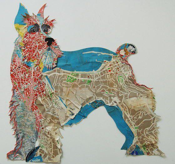De Britse kunstenaar Peter Clark gebruikt oude postzegels, mappen, liefdesbrieven, labels, knopen, naaipatronen en diverse andere soorten papier om collages van te maken. De Brit past zelfs het type materiaal aan op het ras van de hond. De Schotse Terriër bijvoorbeeld, is gemaakt van landkaarten