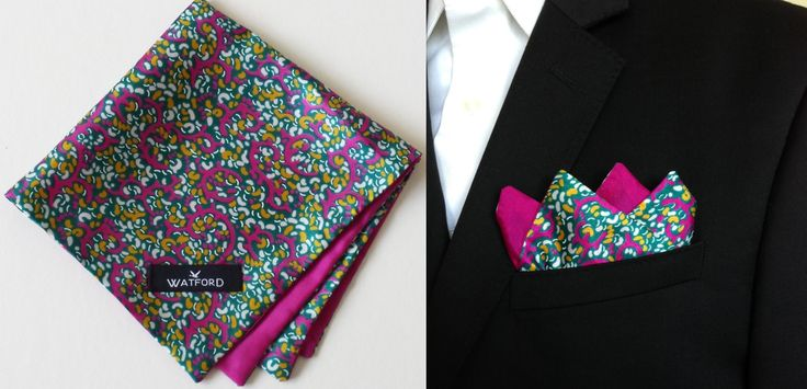 Polyester Silk print with fuchsia lining - Pocket Square (Double-sided)