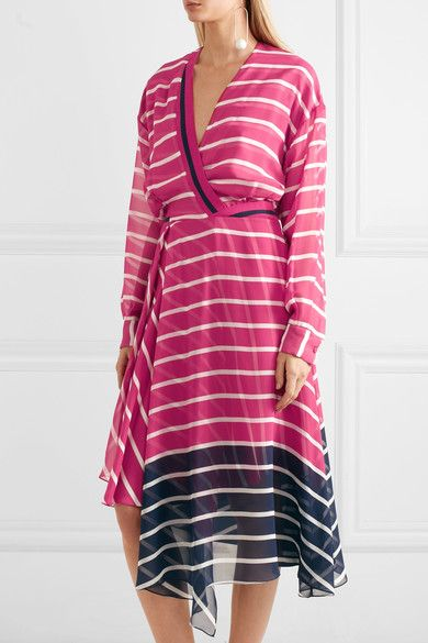Preen by Thornton Bregazzi - Flintoff Striped Silk-chiffon Dress - Pink - x small