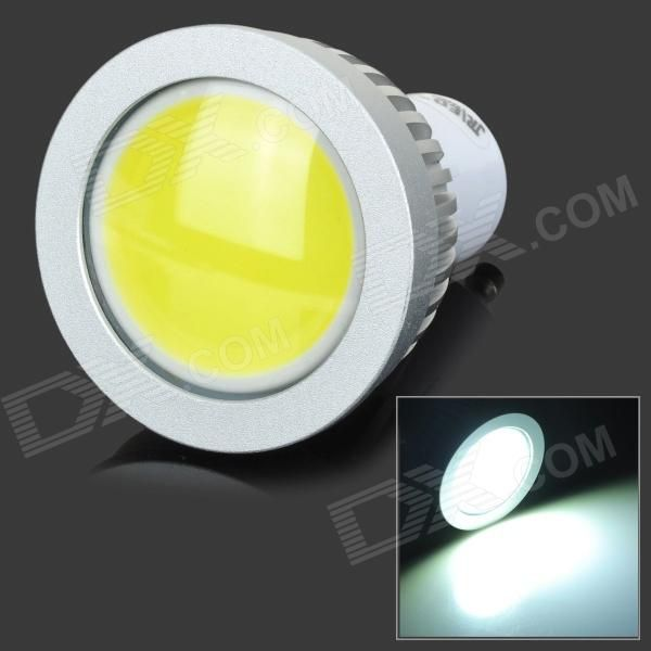 Color: White + Silver; Color BIN: White; Brand: JRLED; Model: JRLED-3W-COB; Material: Aluminum alloy; Quantity: 1 Piece; Power: 3W; Rated Voltage: AC 220 V; Connector Type: GU10; Theoretical Lumens: 300 lumens; Actual Lumens: 160~260 lumens; Chip Brand: Epistar; Emitter Type: COB; Total Emitters: 1; Color Temperature: Others,6000~6500K; Dimmable: yes; Beam Angle: 120 °; Other Features: Good heat dissipation; Great for home use; Packing List: 1 x Spot light; http://j.mp/1lklndo