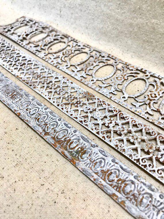 Distressed White Tin Trim Embossed Metal Lace Ribbon White Metal
