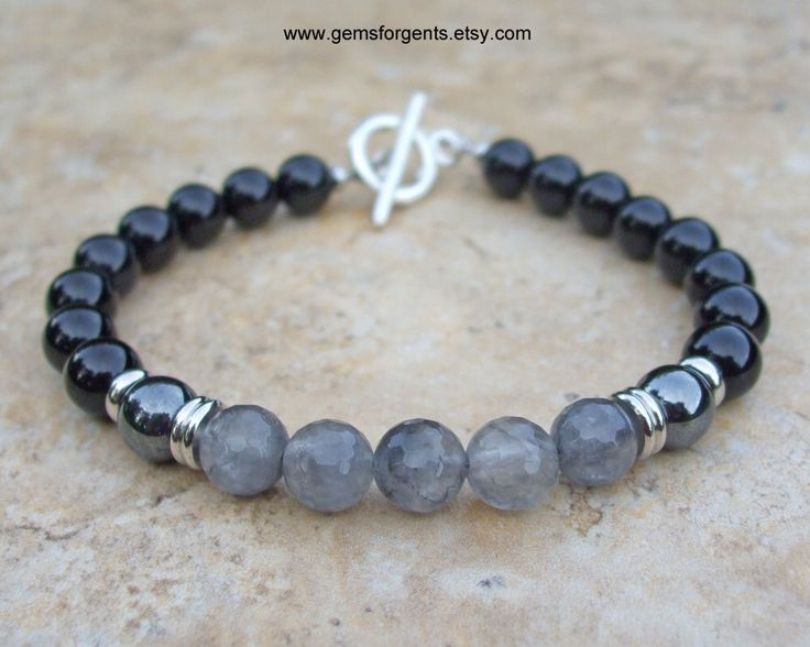Gray Cloudy Quartz, Hematite and Black Onyx, Mens Beaded Bracelet, Mens Jewelry – B18 by GemsForGents on Etsy https://www.etsy.com/listing/470828399/gray-cloudy-quartz-hematite-and-black