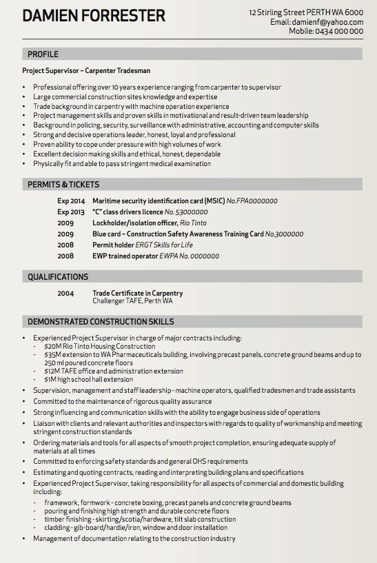 com carpenter tradesman resume sample resumes pinterest resume