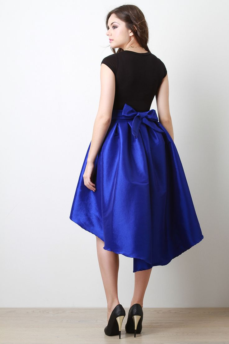 Taffeta Pleated High-Low Skirt