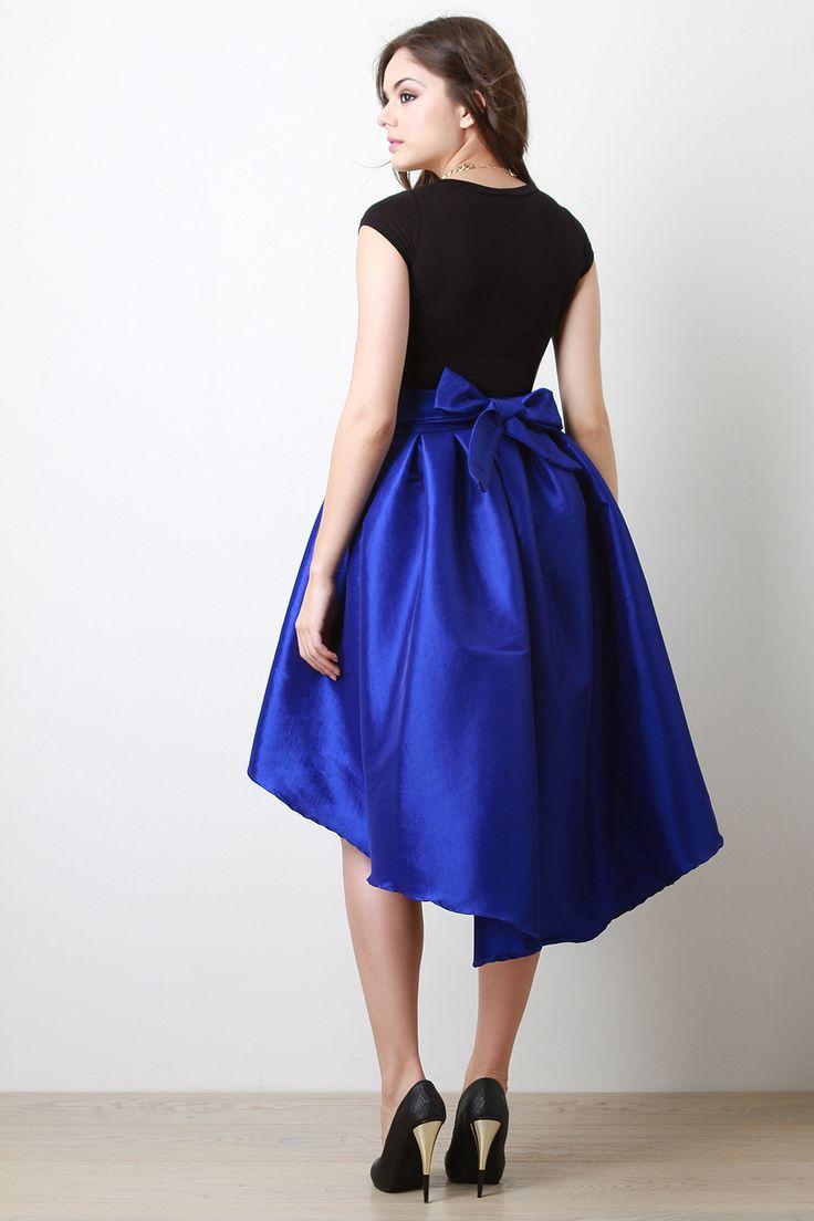 taffeta pleated high low skirt cemi ceri style